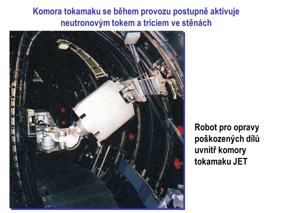 Komora tokamaku se během provozu postupně aktivuje neutronovým tokem a triciem ve stěnách Robot pro opravy poškozených dílů uvnitř komory tokamaku JET