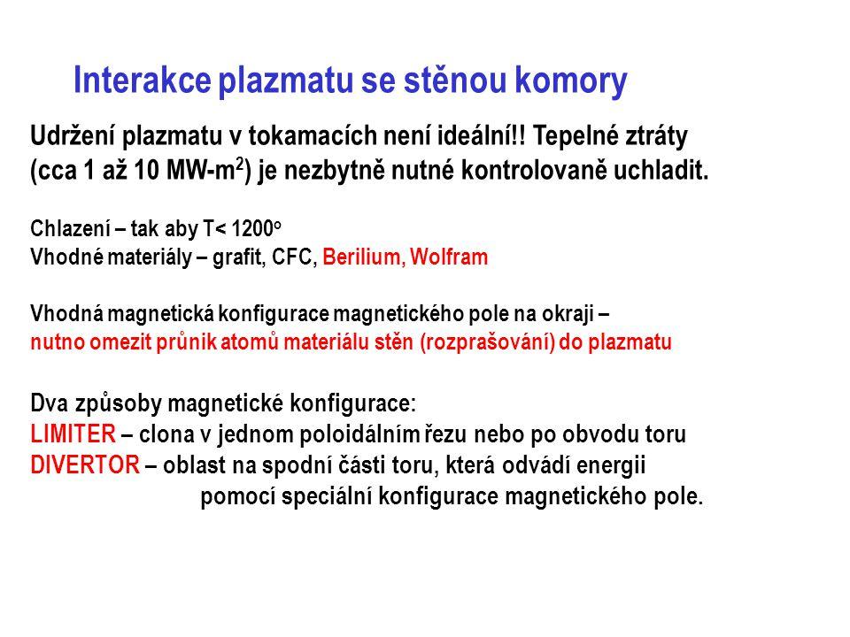 Interakce plazmatu se stěnou komory Udržení plazmatu v tokamacích není ideální!! Tepelné ztráty (cca 1 až 10 MW-m 2 ) je nezbytně nutné kontrolovaně u