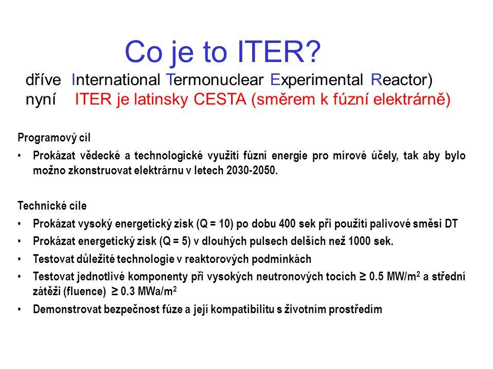 Co je to ITER? dříve International Termonuclear Experimental Reactor) nyníITER je latinsky CESTA (směrem k fúzní elektrárně) Programový cíl Prokázat v