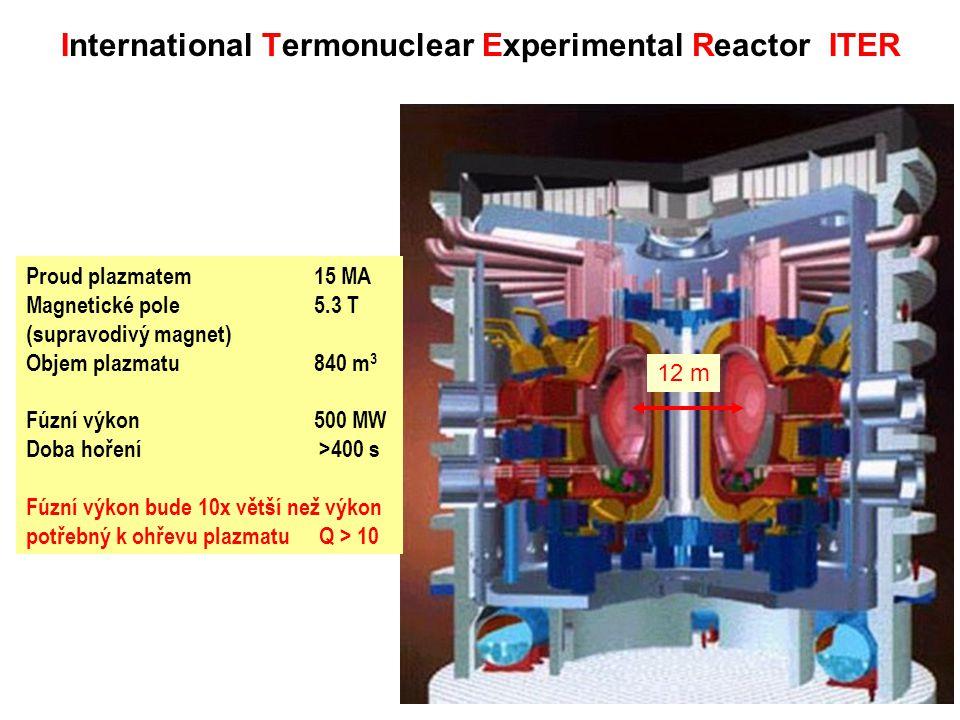 Proud plazmatem 15 MA Magnetické pole 5.3 T (supravodivý magnet) Objem plazmatu840 m 3 Fúzní výkon500 MW Doba hoření >400 s Fúzní výkon bude 10x větší než výkon potřebný k ohřevu plazmatu Q > 10 International Termonuclear Experimental Reactor ITER 12 m
