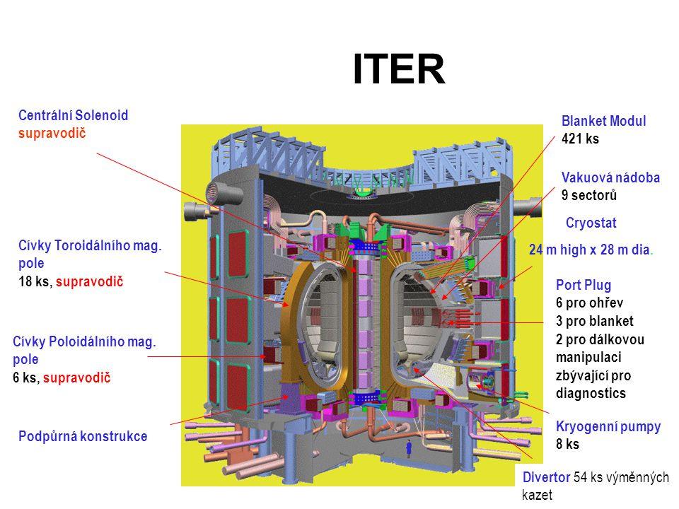 ITER Divertor 54 ks výměnných kazet Centrální Solenoid supravodič Cívky Toroidálního mag.