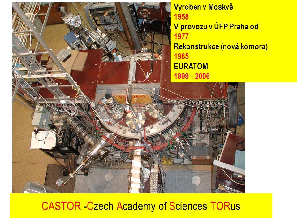 Vyroben v Moskvě 1958 V provozu v ÚFP Praha od 1977 Rekonstrukce (nová komora) 1985 EURATOM 1999 - 2006 CASTOR -Czech Academy of Sciences TORus