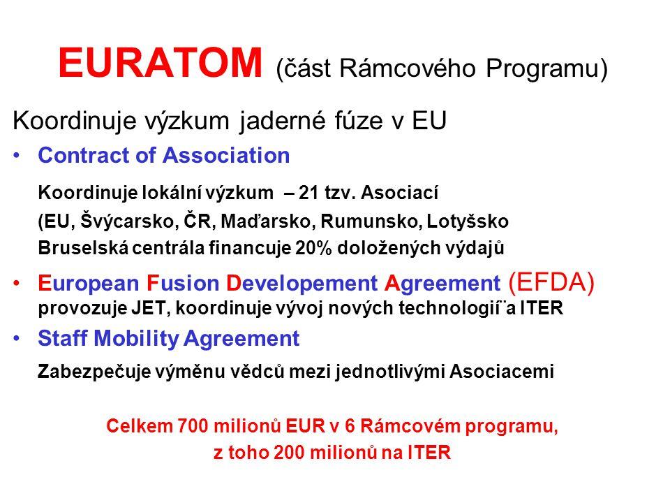 EURATOM (část Rámcového Programu) Koordinuje výzkum jaderné fúze v EU Contract of Association Koordinuje lokální výzkum – 21 tzv. Asociací (EU, Švýcar