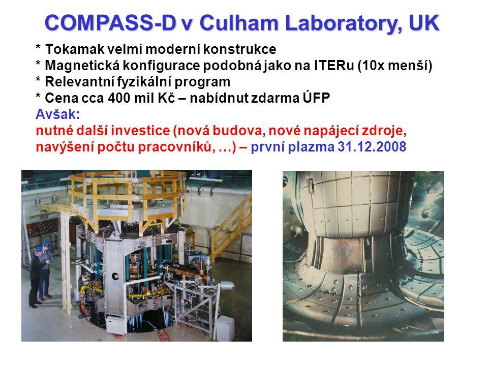 * Tokamak velmi moderní konstrukce * Magnetická konfigurace podobná jako na ITERu (10x menší) * Relevantní fyzikální program * Cena cca 400 mil Kč – nabídnut zdarma ÚFP Avšak: nutné další investice (nová budova, nové napájecí zdroje, navýšení počtu pracovníků, …) – první plazma 31.12.2008 COMPASS-D v Culham Laboratory, UK