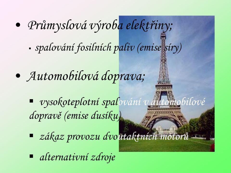 Průmyslová výroba elektřiny; Automobilová doprava;  vysokoteplotní spalování v automobilové dopravě (emise dusíku)  zákaz provozu dvoutaktních motorů  alternativní zdroje  spalování fosilních paliv (emise síry)