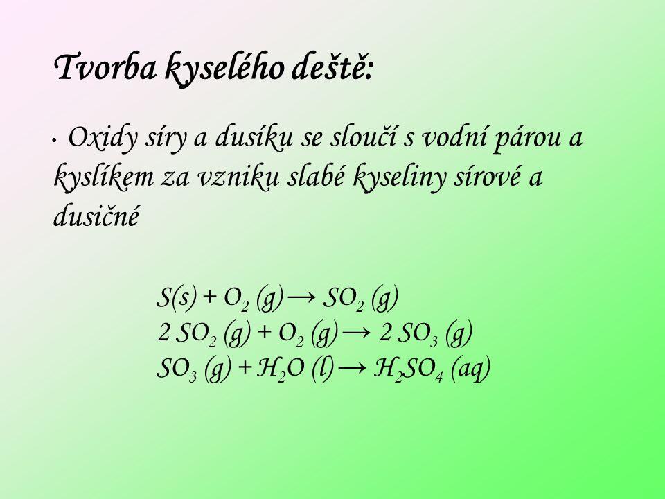 Tvorba kyselého deště: Oxidy síry a dusíku se sloučí s vodní párou a kyslíkem za vzniku slabé kyseliny sírové a dusičné S(s) + O 2 (g) → SO 2 (g) 2 SO 2 (g) + O 2 (g) → 2 SO 3 (g) SO 3 (g) + H 2 O (l) → H 2 SO 4 (aq)