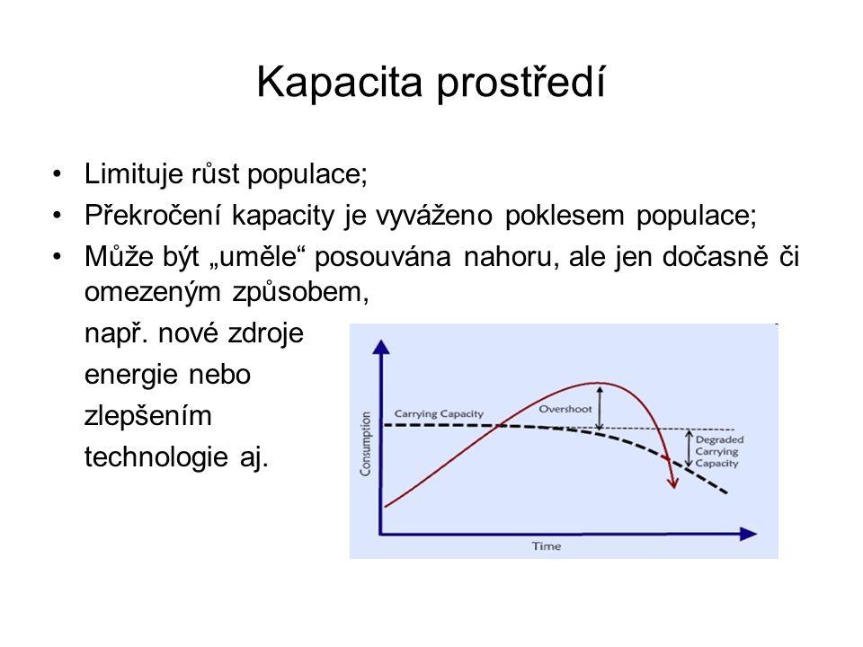 """Kapacita prostředí Limituje růst populace; Překročení kapacity je vyváženo poklesem populace; Může být """"uměle posouvána nahoru, ale jen dočasně či omezeným způsobem, např."""