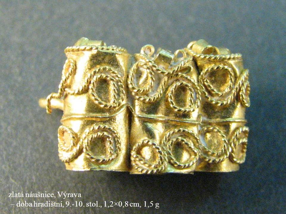Jakub Jirásek27 zlatá náušnice, Výrava – doba hradištní, 9.-10. stol., 1,2×0,8 cm, 1,5 g