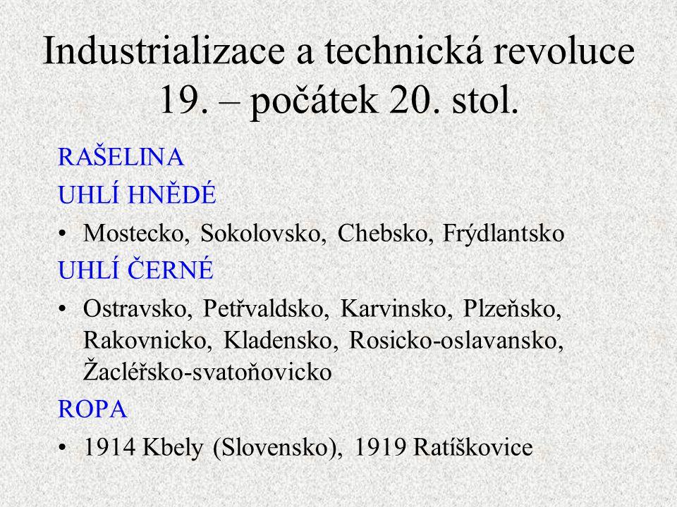 RAŠELINA UHLÍ HNĚDÉ Mostecko, Sokolovsko, Chebsko, Frýdlantsko UHLÍ ČERNÉ Ostravsko, Petřvaldsko, Karvinsko, Plzeňsko, Rakovnicko, Kladensko, Rosicko-oslavansko, Žacléřsko-svatoňovicko ROPA 1914 Kbely (Slovensko), 1919 Ratíškovice Industrializace a technická revoluce 19.