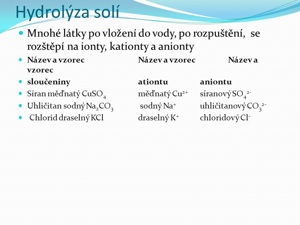 Hydrolýza solí Mnohé látky po vložení do vody, po rozpuštění, se rozštěpí na ionty, kationty a anionty Název a vzorec Název a vzorec Název a vzorec sloučeninyationtu aniontu Síran měďnatý CuSO 4 měďnatý Cu 2+ síranový SO 4 2- Uhličitan sodný Na 2 CO 3 sodný Na + uhličitanový CO 3 2- Chlorid draselný KCldraselný K + chloridový Cl -