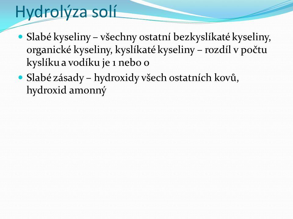 Hydrolýza solí Slabé kyseliny – všechny ostatní bezkyslíkaté kyseliny, organické kyseliny, kyslíkaté kyseliny – rozdíl v počtu kyslíku a vodíku je 1 nebo 0 Slabé zásady – hydroxidy všech ostatních kovů, hydroxid amonný