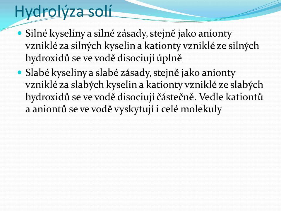 Hydrolýza solí Silné kyseliny a silné zásady, stejně jako anionty vzniklé za silných kyselin a kationty vzniklé ze silných hydroxidů se ve vodě disociují úplně Slabé kyseliny a slabé zásady, stejně jako anionty vzniklé za slabých kyselin a kationty vzniklé ze slabých hydroxidů se ve vodě disociují částečně.