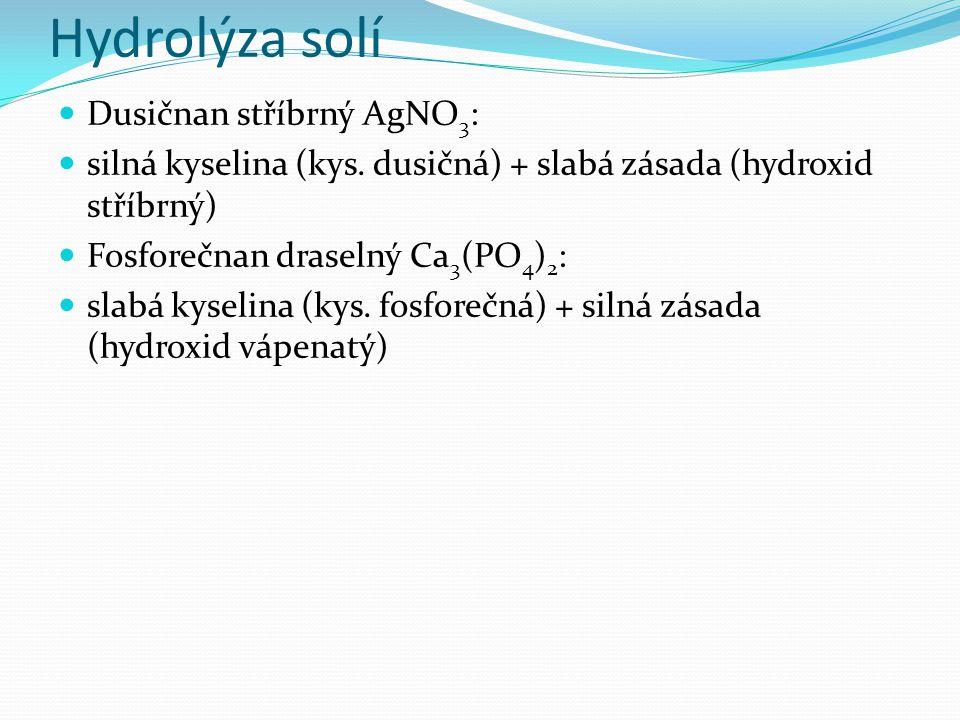 Hydrolýza solí Dusičnan stříbrný AgNO 3 : silná kyselina (kys.