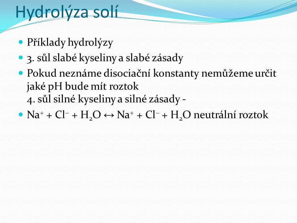 Hydrolýza solí Příklady hydrolýzy 3.