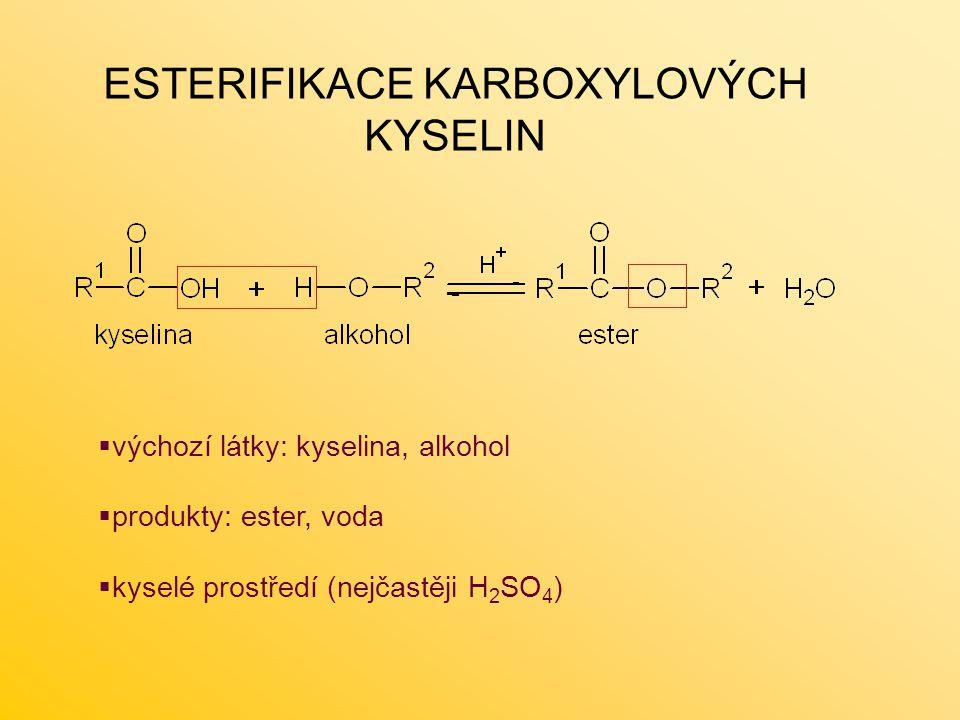 ESTERIFIKACE KARBOXYLOVÝCH KYSELIN  výchozí látky: kyselina, alkohol  produkty: ester, voda  kyselé prostředí (nejčastěji H 2 SO 4 )