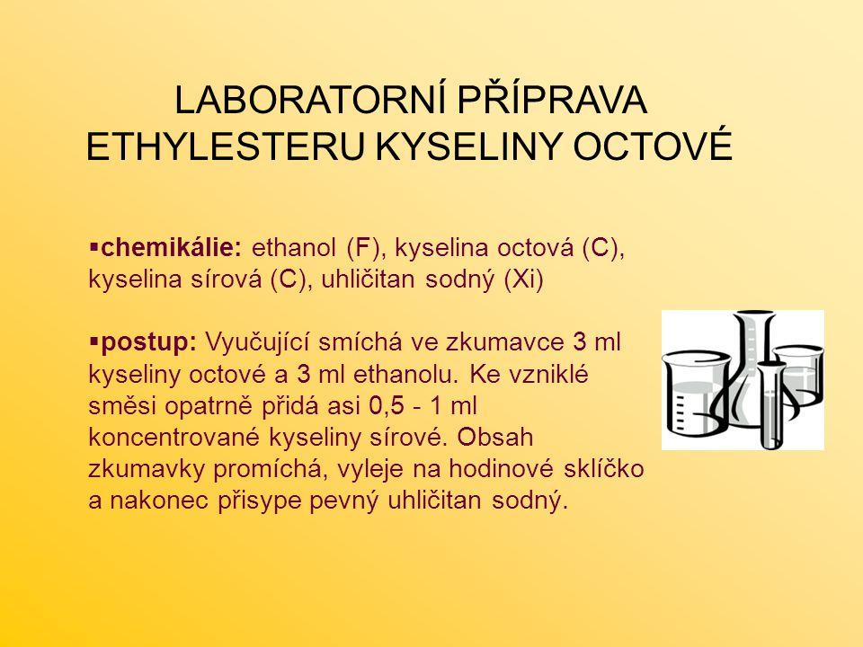 LABORATORNÍ PŘÍPRAVA ETHYLESTERU KYSELINY OCTOVÉ  chemikálie: ethanol (F), kyselina octová (C), kyselina sírová (C), uhličitan sodný (Xi)  postup: V