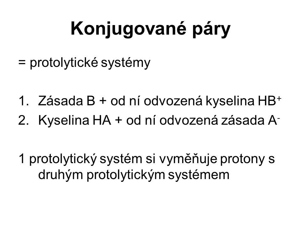 Konjugované páry = protolytické systémy 1.Zásada B + od ní odvozená kyselina HB + 2.Kyselina HA + od ní odvozená zásada A - 1 protolytický systém si v