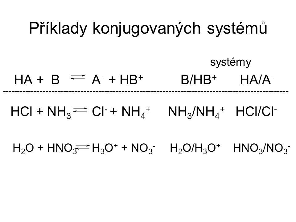 Příklady konjugovaných systémů systémy HA + B A - + HB + B/HB + HA/A - -------------------------------------------------------------------------------