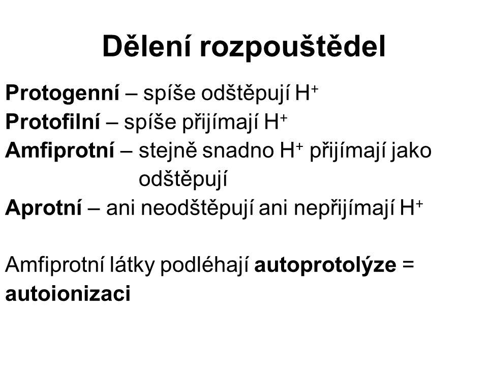 Dělení rozpouštědel Protogenní – spíše odštěpují H + Protofilní – spíše přijímají H + Amfiprotní – stejně snadno H + přijímají jako odštěpují Aprotní