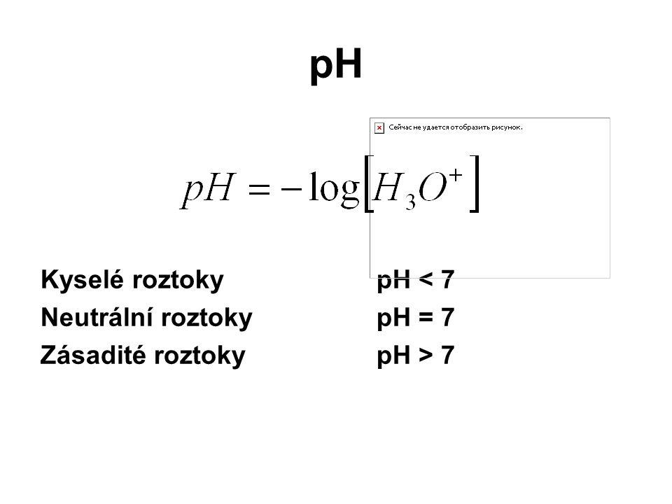 pH Kyselé roztokypH < 7 Neutrální roztokypH = 7 Zásadité roztoky pH > 7