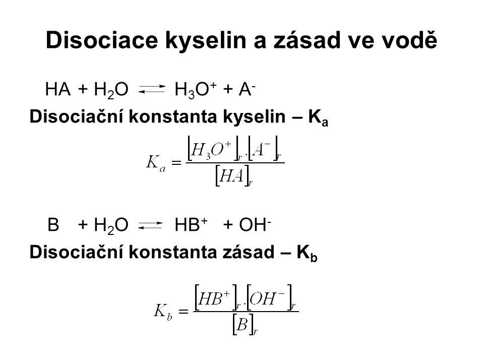 Disociace kyselin a zásad ve vodě HA+ H 2 OH 3 O + + A - Disociační konstanta kyselin – K a B+ H 2 OHB + + OH - Disociační konstanta zásad – K b