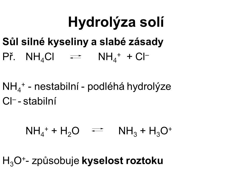 Hydrolýza solí Sůl silné kyseliny a slabé zásady Př. NH 4 Cl NH 4 + + Cl – NH 4 + - nestabilní - podléhá hydrolýze Cl – - stabilní NH 4 + + H 2 ONH 3