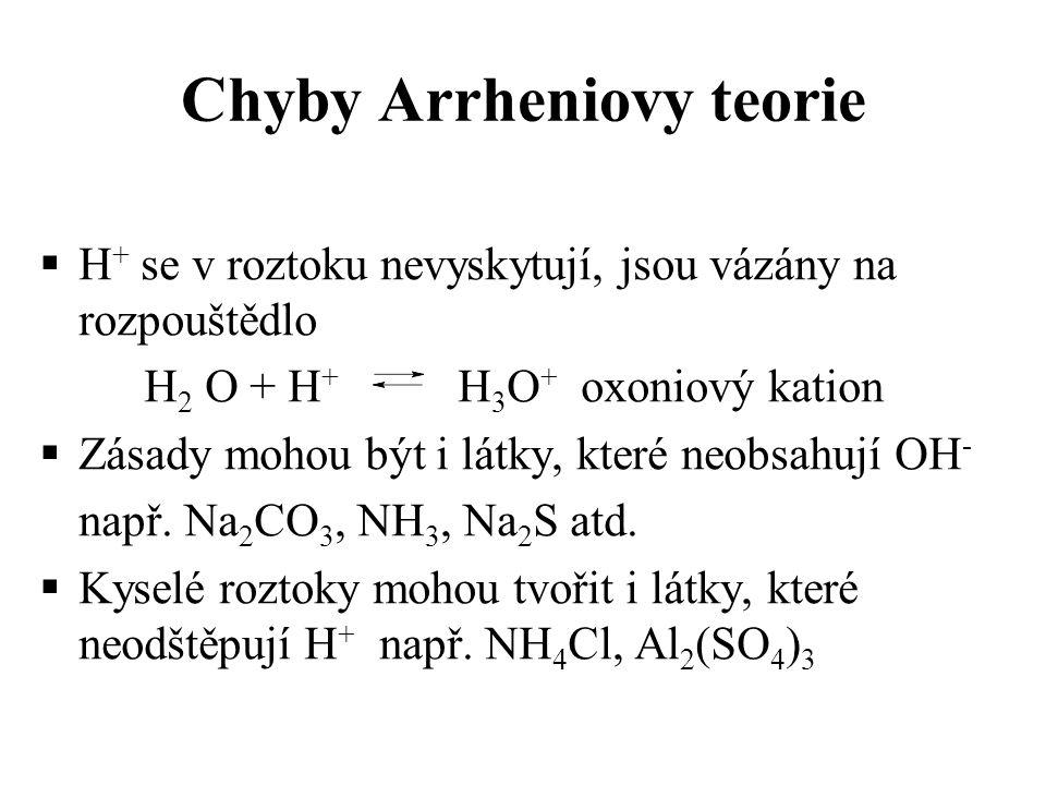Chyby Arrheniovy teorie  H + se v roztoku nevyskytují, jsou vázány na rozpouštědlo H 2 O + H + H 3 O + oxoniový kation  Zásady mohou být i látky, kt