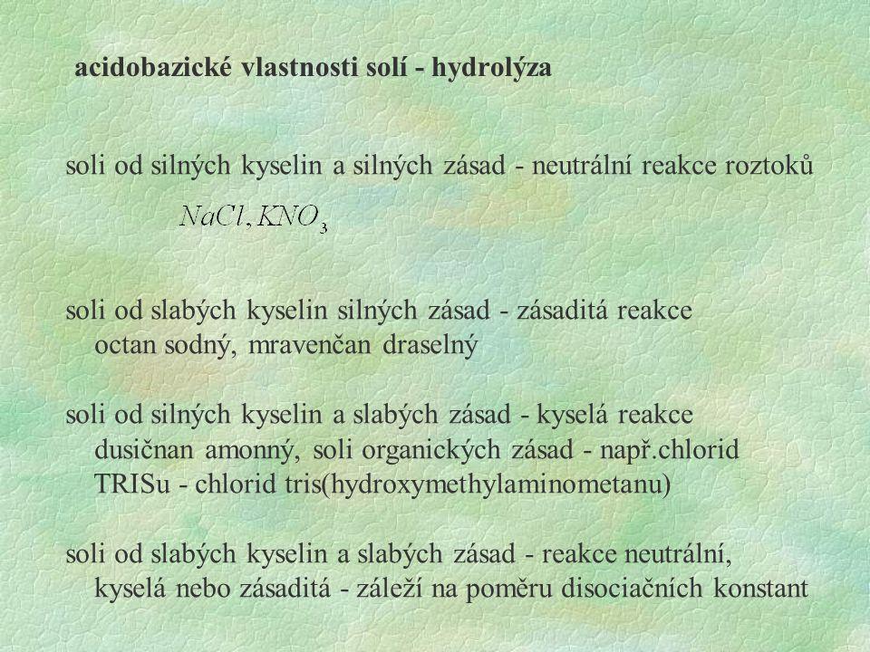 acidobazické vlastnosti solí - hydrolýza soli od silných kyselin a silných zásad - neutrální reakce roztoků soli od slabých kyselin silných zásad - zá