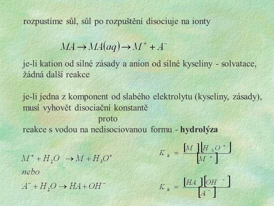 rozpustíme sůl, sůl po rozpuštění disociuje na ionty je-li kation od silné zásady a anion od silné kyseliny - solvatace, žádná další reakce je-li jedna z komponent od slabého elektrolytu (kyseliny, zásady), musí vyhovět disociační konstantě proto reakce s vodou na nedisociovanou formu - hydrolýza