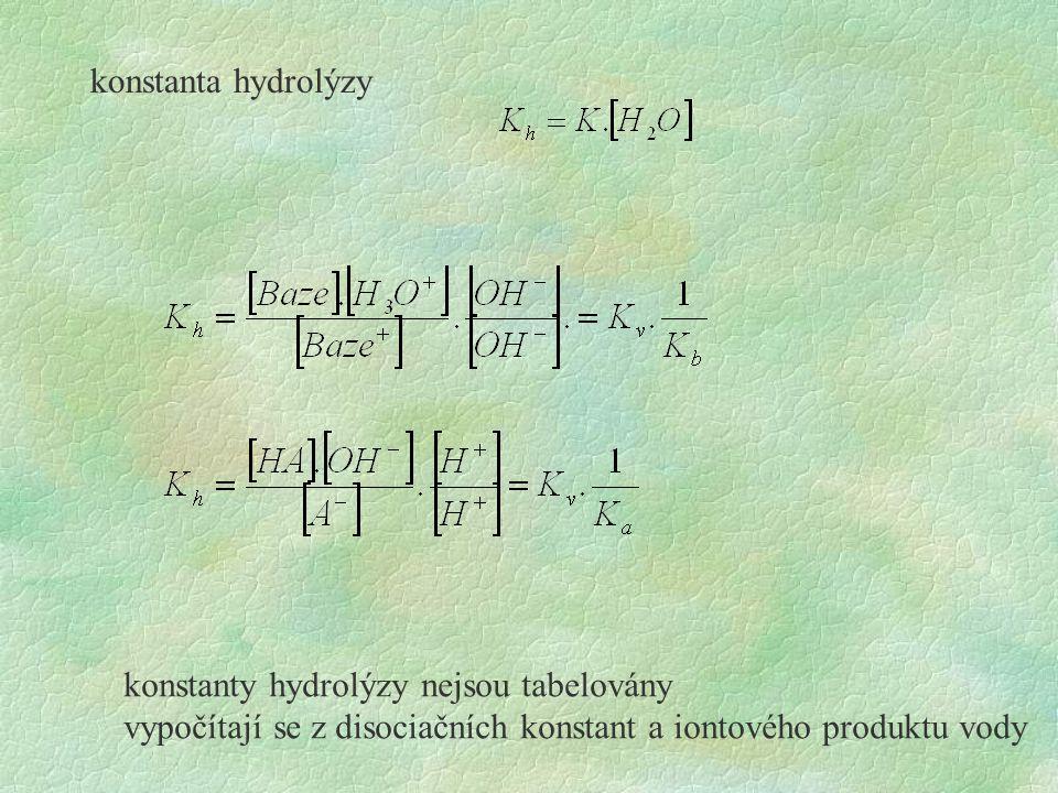 konstanta hydrolýzy konstanty hydrolýzy nejsou tabelovány vypočítají se z disociačních konstant a iontového produktu vody