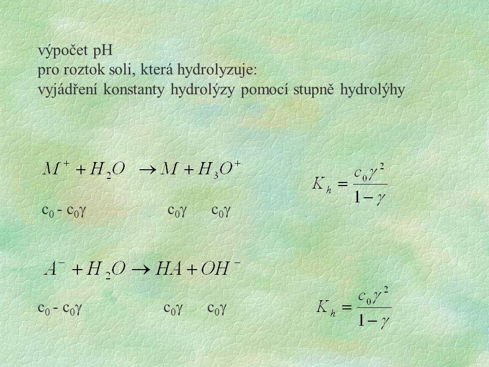 výpočet pH pro roztok soli, která hydrolyzuje: vyjádření konstanty hydrolýzy pomocí stupně hydrolýhy c 0 - c 0  c 0  c 0 
