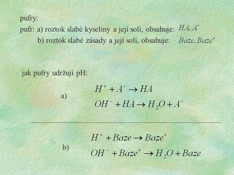pufry: pufr: a) roztok slabé kyseliny a její soli, obsahuje: b) roztok slabé zásady a její soli, obsahuje: jak pufry udržují pH: a) b)