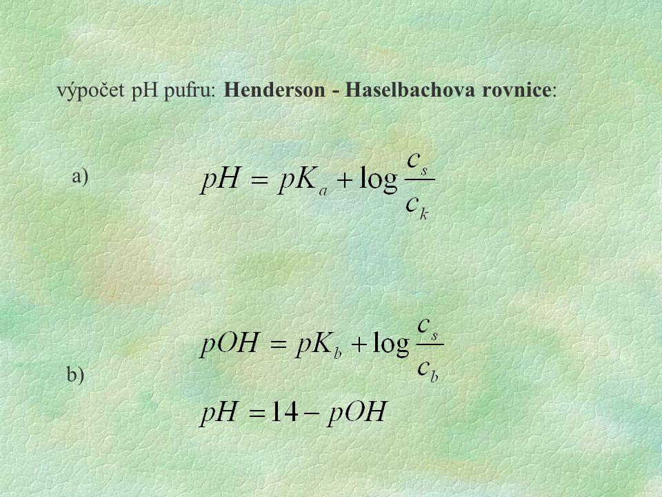 výpočet pH pufru: Henderson - Haselbachova rovnice: a) b)