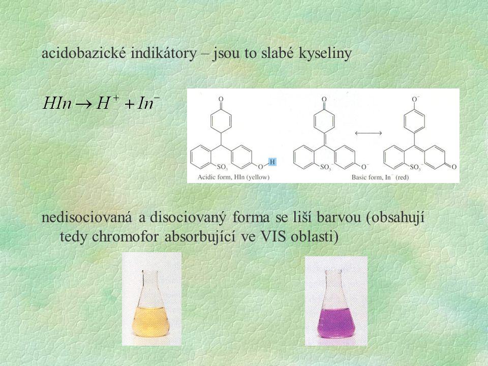 acidobazické indikátory – jsou to slabé kyseliny nedisociovaná a disociovaný forma se liší barvou (obsahují tedy chromofor absorbující ve VIS oblasti)