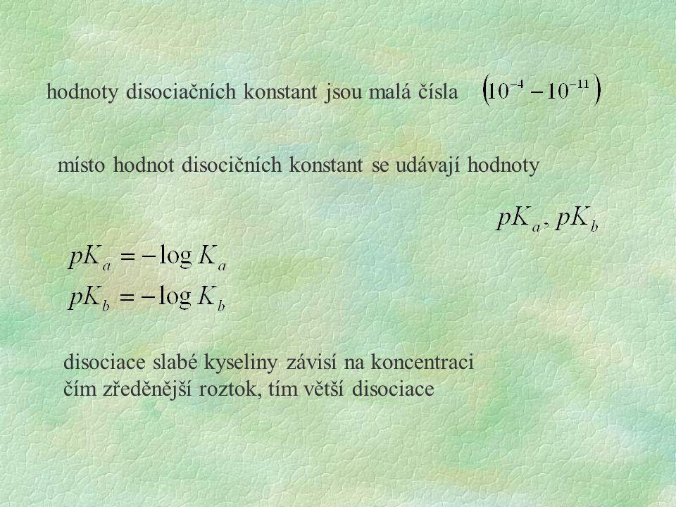 hodnoty disociačních konstant jsou malá čísla místo hodnot disocičních konstant se udávají hodnoty disociace slabé kyseliny závisí na koncentraci čím zředěnější roztok, tím větší disociace
