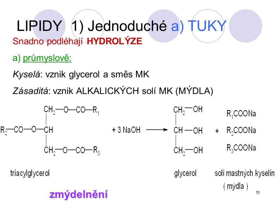 10 Snadno podléhají HYDROLÝZE a)průmyslově: Kyselá: vznik glycerol a směs MK Zásaditá: vznik ALKALICKÝCH solí MK (MÝDLA) zmýdelnění LIPIDY 1) Jednoduché a) TUKY
