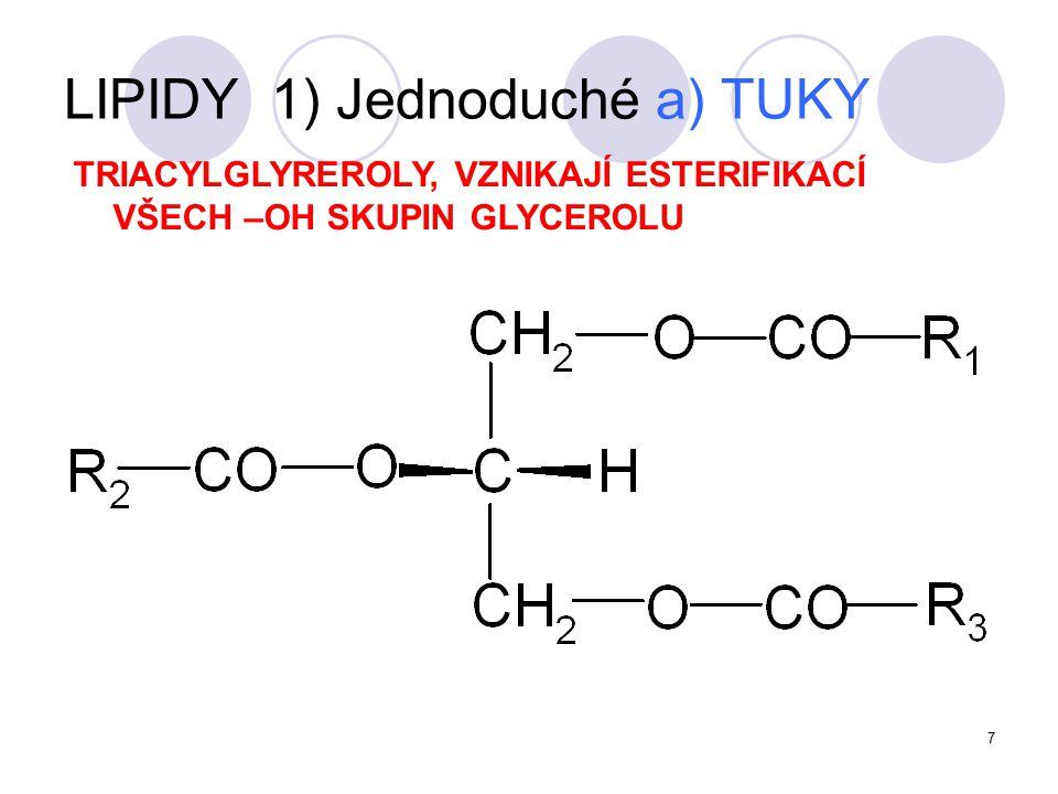 8 tuky pevné – loje tuky polotekuté - sádla tuky kapalné - oleje SKUPENSTVÍ: podle obsahu nenasycených MK LIPIDY 1) Jednoduché a) TUKY Přírodní tuky: Směs různých triacylglycerolů