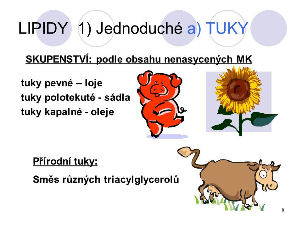 9 dle hydrolýzy LIPIDY 1) Jednoduché a) TUKY