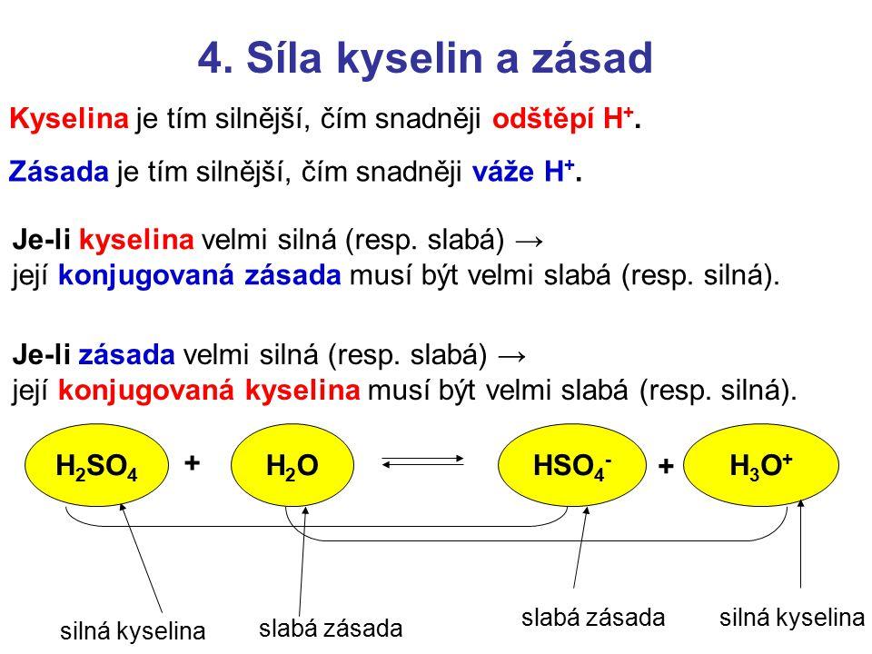 4. Síla kyselin a zásad Kyselina je tím silnější, čím snadněji odštěpí H +. Zásada je tím silnější, čím snadněji váže H +. Je-li kyselina velmi silná