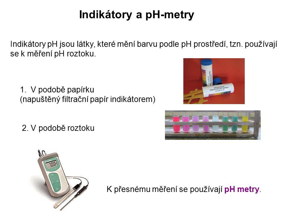 Indikátory a pH-metry Indikátory pH jsou látky, které mění barvu podle pH prostředí, tzn. používají se k měření pH roztoku. 1.V podobě papírku (napušt