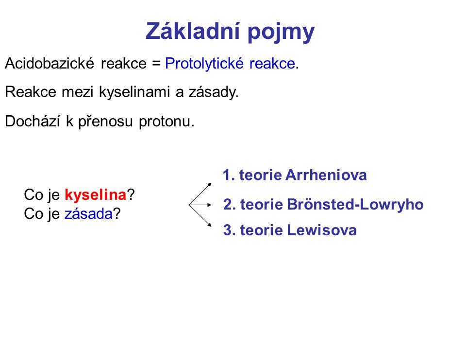 Základní pojmy Acidobazické reakce = Protolytické reakce. Reakce mezi kyselinami a zásady. Dochází k přenosu protonu. 1. teorie Arrheniova 2. teorie B
