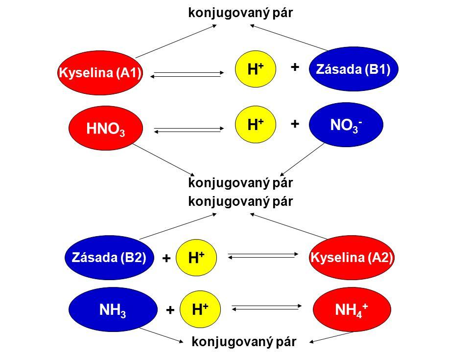 Kyselina (A1) Zásada (B1) H+H+ + HNO 3 NO 3 - H+H+ + Zásada (B2) H+H+ + Kyselina (A2) NH 3 H+H+ + NH 4 + konjugovaný pár