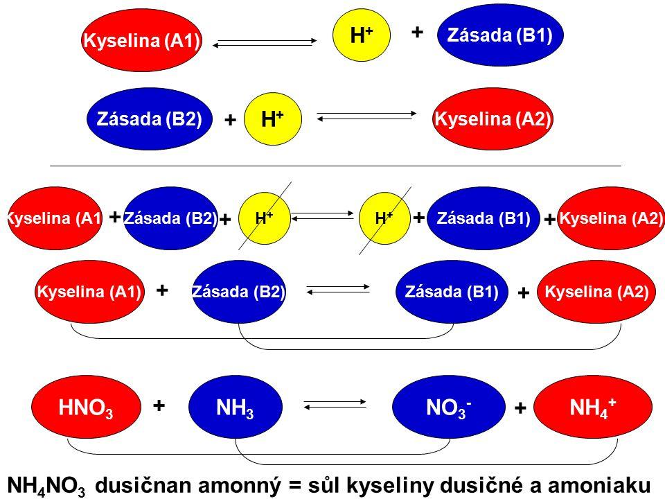 Kyselina (A1) Zásada (B1) H+H+ + Zásada (B2) H+H+ + Kyselina (A2) Kyselina (A1)Zásada (B2) H+H+ + ++ + Zásada (B1) H+H+ Kyselina (A2) Kyselina (A1)Zás
