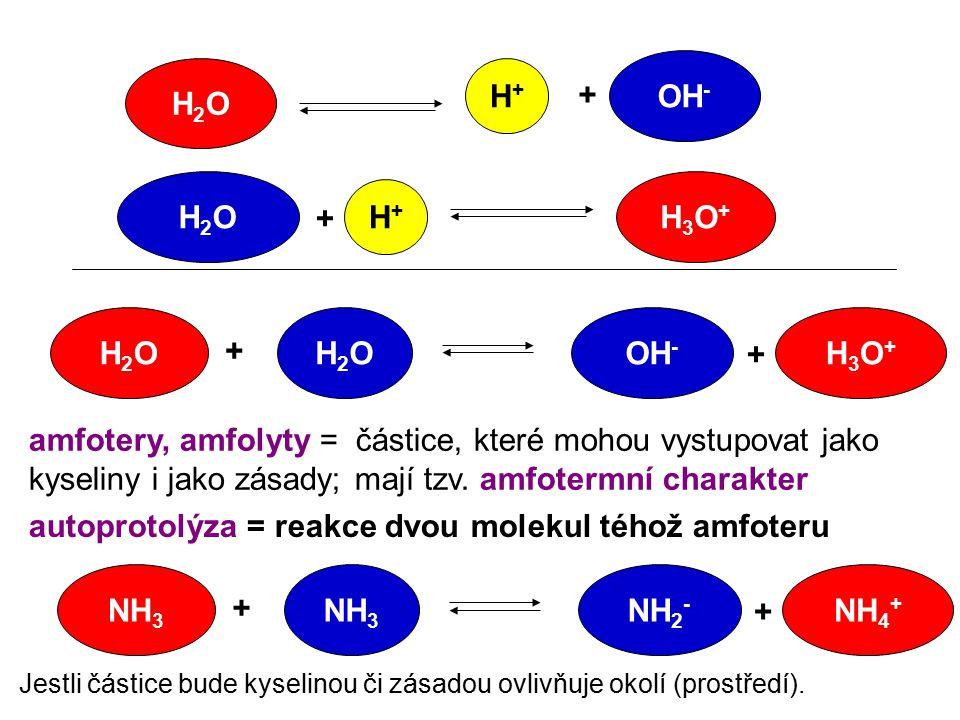 H2OH2O OH - H+H+ + H2OH2O H+H+ + H3O+H3O+ H2OH2OH2OH2O + + H3O+H3O+ amfotery, amfolyty = částice, které mohou vystupovat jako kyseliny i jako zásady;