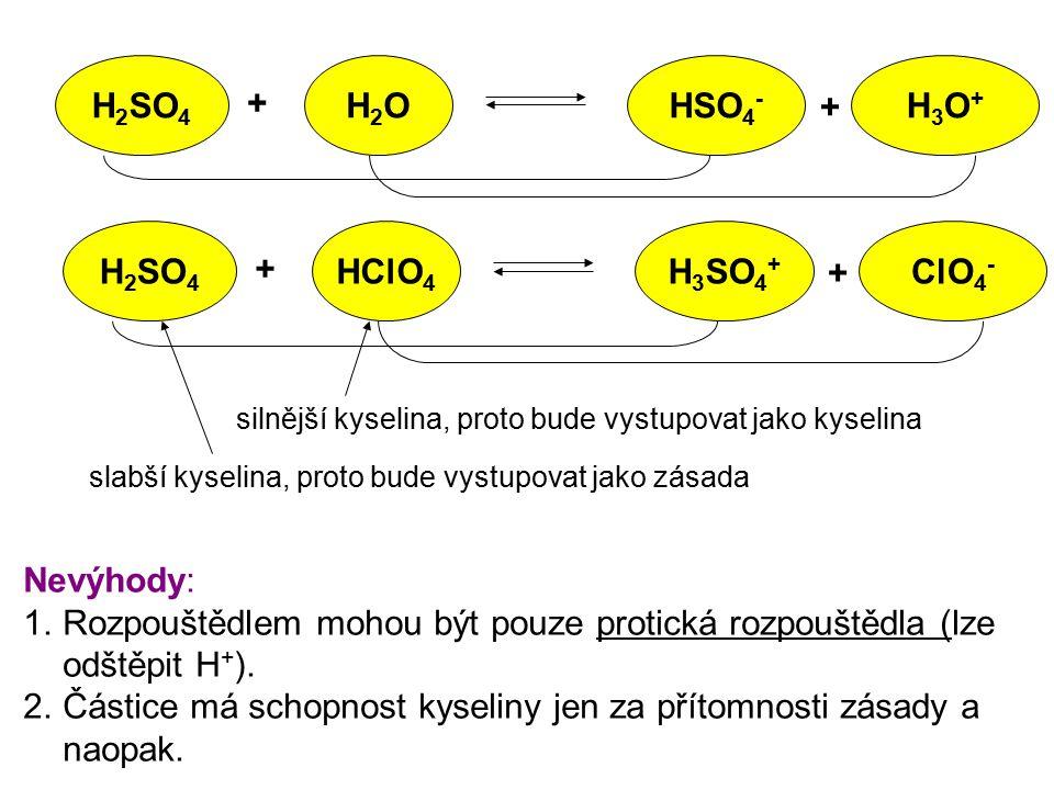 H 2 SO 4 H2OH2O + + HSO 4 - H3O+H3O+ silnější kyselina, proto bude vystupovat jako kyselina slabší kyselina, proto bude vystupovat jako zásada Nevýhod