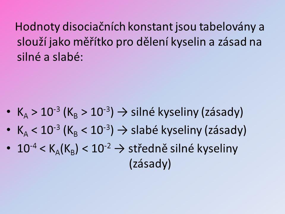Hodnoty disociačních konstant jsou tabelovány a slouží jako měřítko pro dělení kyselin a zásad na silné a slabé: K A > 10 -3 (K B > 10 -3 ) → silné ky
