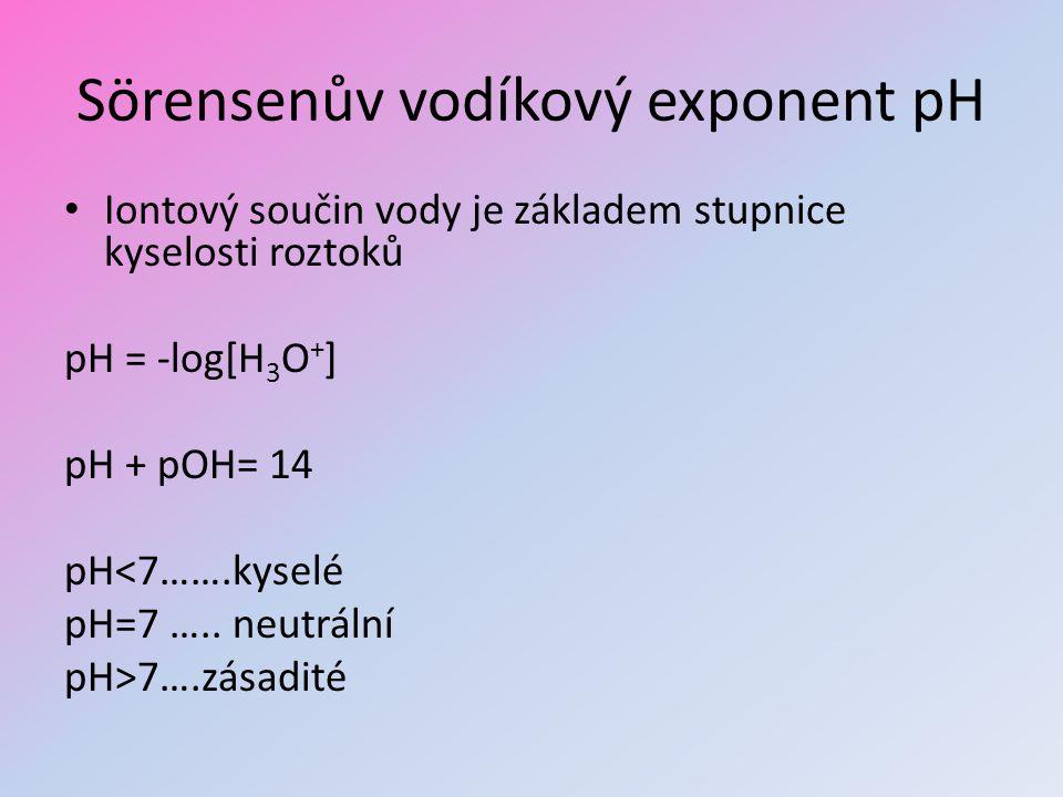 Sörensenův vodíkový exponent pH Iontový součin vody je základem stupnice kyselosti roztoků pH = -log[H 3 O + ] pH + pOH= 14 pH<7…….kyselé pH=7 ….. neu