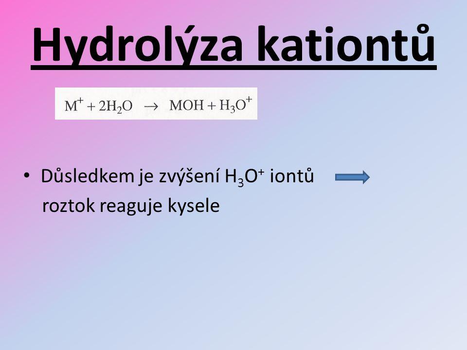 Hydrolýza kationtů Důsledkem je zvýšení H 3 O + iontů roztok reaguje kysele