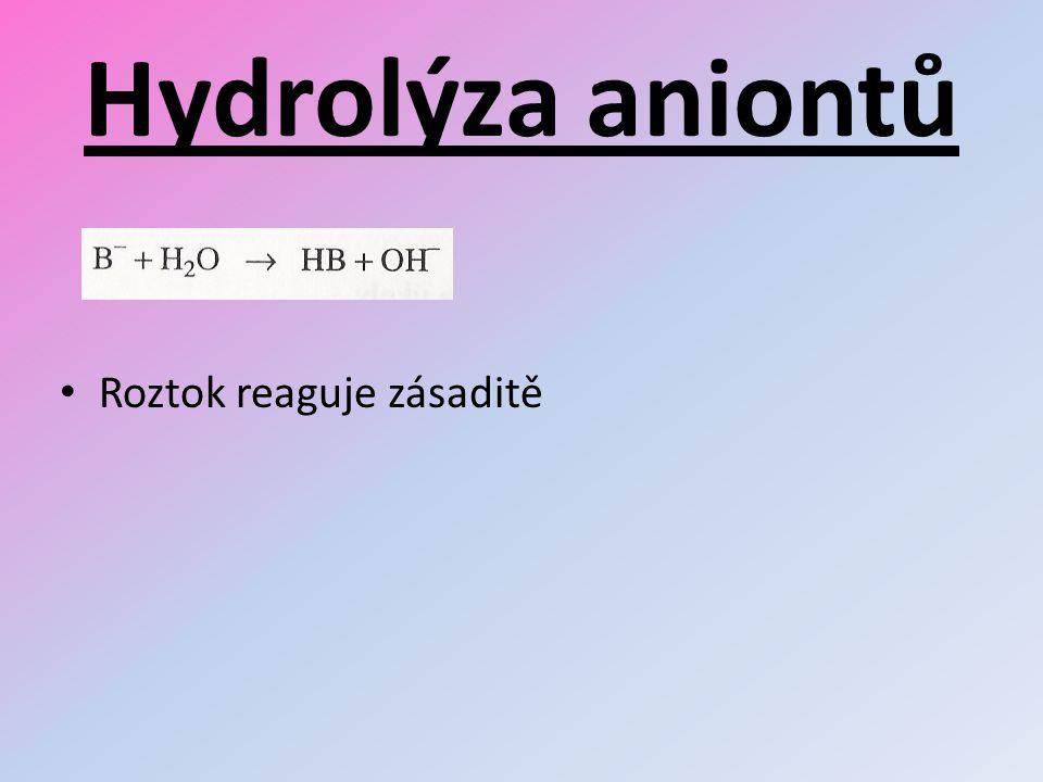 Hydrolýza aniontů Roztok reaguje zásaditě