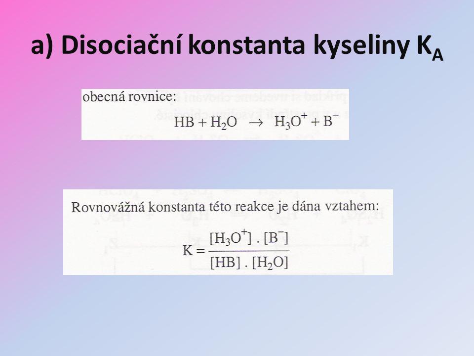 a) Disociační konstanta kyseliny K A